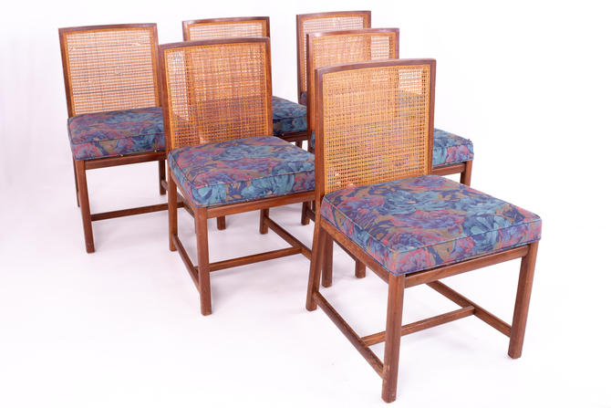 Michael Taylor for Baker Mid Century Caned Walnut Dining Chairs - Set of 6 - mcm by ModernHill
