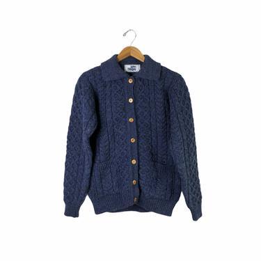 Vintage Blue John Molloy Irish Aran Fisherman Cable Knit Cardigan Sweater, Size 38 by Northforkvintageshop