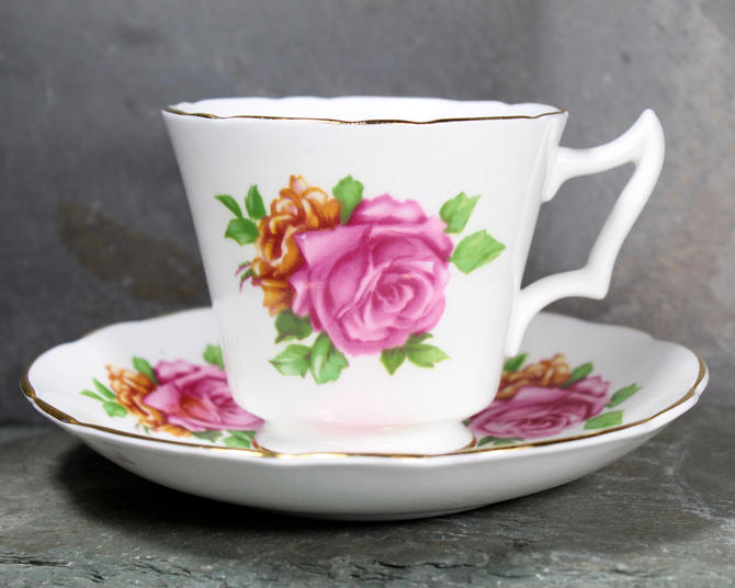 Marlborough Pink Rose with 22Kt Gold Accents Bone China Teacup and Saucer - English Bone China - Floral Teacup | FREE SHIPPING by Trovetorium