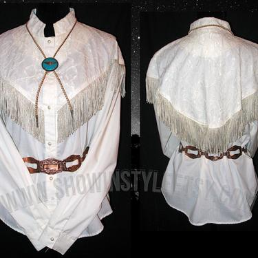 Western Collection Vintage Women's Cowgirl Shirt, Rodeo Queen Blouse, Ivory with Lace & Fringe, Tag Size 40, Tag Sze Large (see meas. photo) by ShowinStyle