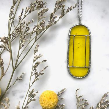 Yellow Art Deco Translucent Stained Glass Necklace | Cathedral Necklace | Glass Necklace | Vintage Style Necklace by LedbellyVintage