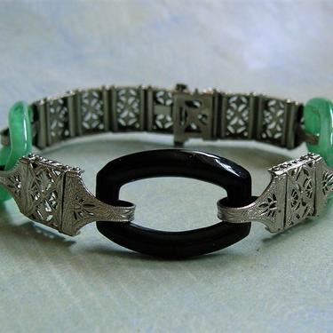 Antique Art Deco Green and Black Czech Glass Filigree Bracelet, Vintage Pierced Art Deco Bracelet, Old Chromium Deco Bracelet (#3892) by keepsakejewels