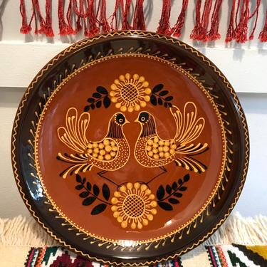 Mexican Ceramic Hanging Plate Handmade Stoneware Bird Folk Art Brown Orange Yellow Clay pottery boho wall hanging by VintageCoreReStore