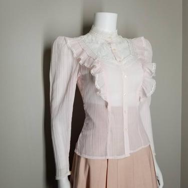 Vintage 70s Sheer Pink Blouse, Small / Ruffled Yoke Prairie Blouse / Lace Victorian Button Shirt / Retro 1970s High Neck Renaissance Blouse by SoughtClothier