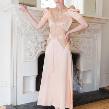 Antique 1930s Art Deco silk and lace dressing gown OOAK by DevoreVintage
