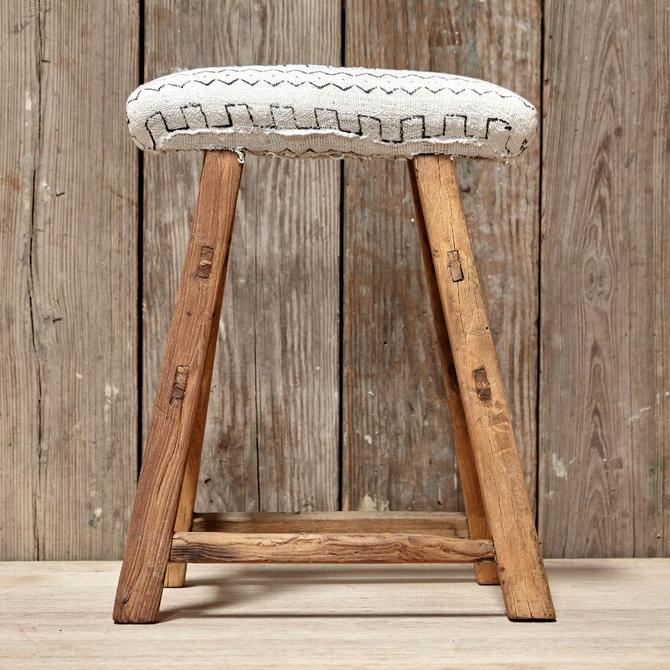 Upholstered Stool- White Mudcloth