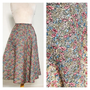 Vintage 1940s 1950s 50s Floral Quilted Swing Flare Skirt Midi Poodle A Line Dusty Rose Blue Yellow Lavender Muted Colors 26 inch Waist XS by KeepersVintage