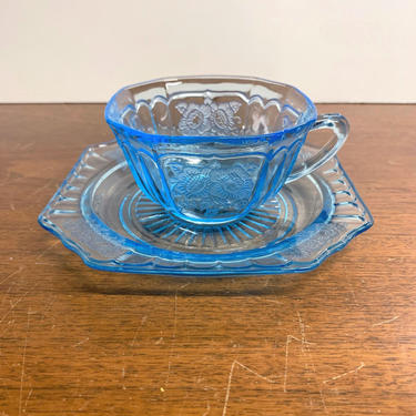 Vintage Anchor Hocking Mayfair Blue Tea Cup and Saucer by OverTheYearsFinds