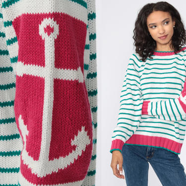 Nautical Anchor Sweater Striped 90s Knit White Green Yacht Sweater Vintage Slouchy Sailor Nerd Geek 1990s Cotton Ramie Small by ShopExile