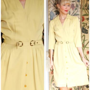 1940s Dress // Chartreuse Gabardine Dress // vintage 40s dress by dethrosevintage