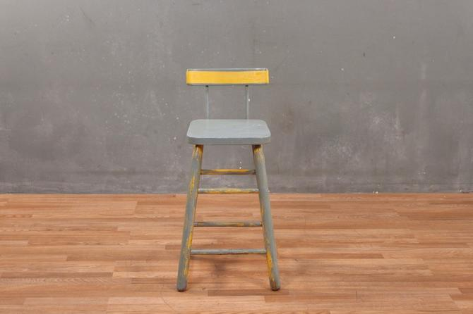 Shabby Gray & Yellow Stool – ONLINE ONLY