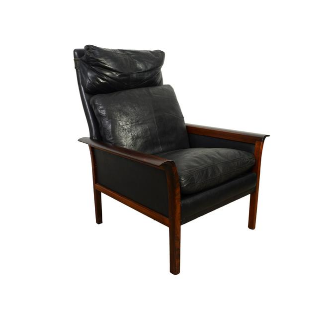 Hans Olsen Rosewood Leather High Back Chair Knut Saeter Vatne Mobler by HearthsideHome
