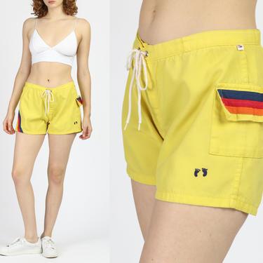 Vintage 80s Hang Ten Swim Shorts - Men's Small, Women's Medium   Yellow Striped Surf Trunks Unisex by FlyingAppleVintage