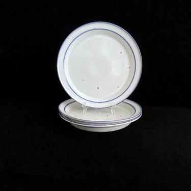 "Vintage Speckled Stoneware Earthenware White Blue w Brown Mist DANSK 10.25"" Dinner Plate Denmark Neils Refsgaard 20th Century Modern Design by SwankyChaperooo"