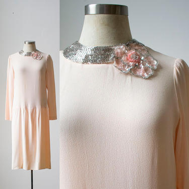 Pale Pink Cocktail Dress / 1920s Inspired Dress / Drop Waist Dress / Blush Cocktail Dress / 80s does the 20s / Longsleeve Cocktail Dress by milkandice
