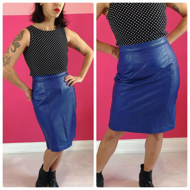 1980s Blue Leather Pencil Skirt by LostGirlsVtg