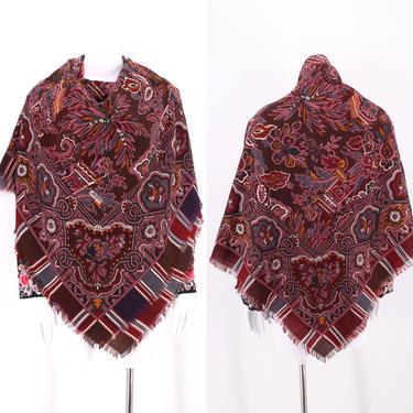 70s LIBERTY huge wool scarf shawl / vintage 1970s Liberty London paisley Egypt wrap 52 x 52 by ritualvintage