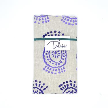 Linen Tea Towel in Pineapple Flower - Purple Haze Ombré
