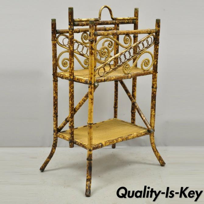 Antique English Victorian Charred Burnt Bamboo Magazine Rack Stand Shelf