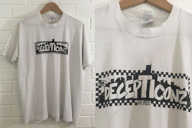 Vintage Decepticonz T-Shirt 90s DC Ska 1990s Punk USA Short Sleeve White Checkerboard Hipster Retro Large L XL Band Shirt Tshirt by CheckEngineVintage