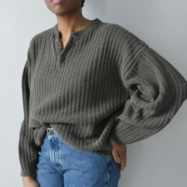 vintage oversized henley sweater, 90s olive cotton knit pullover, size XL by ImprovGoods