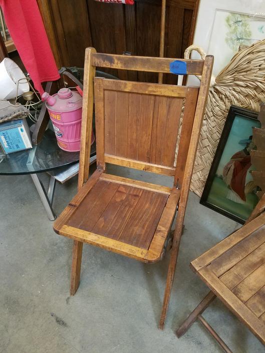 Antique wood folding chair
