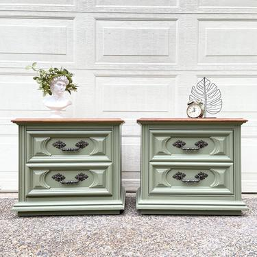 Refinished set of two sage green nightstands / farmhouse / rustic style by RelovedFurnitureStor