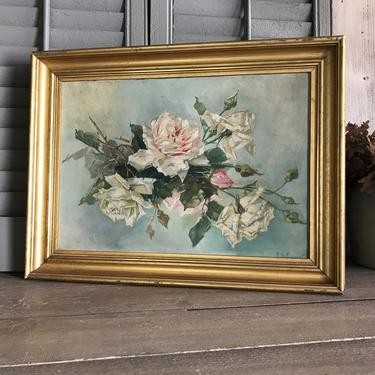 Antique Oil Painting On Board Floral Roses Still Life Gesso Gilt