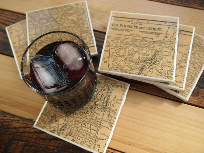 1890s Vermont and New Hampshire Handmade Vintage Map Coasters - Ceramic Tile Set of 6 - Repurposed 1890s Atlas - One of a Kind Coasters by allmappedout