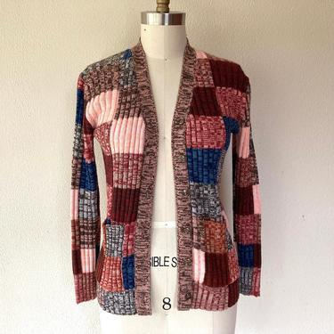 1970s space dyed patchwork cardigan by VelvetGoldmineShop