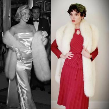 1940s Extra Long White Fox Fur Boa Wrap Scarf / 40s Wedding Shawl Convertible Shrug with Straps / Old Hollywood Glam Marilyn Monroe /Rosana by RareJuleVintage