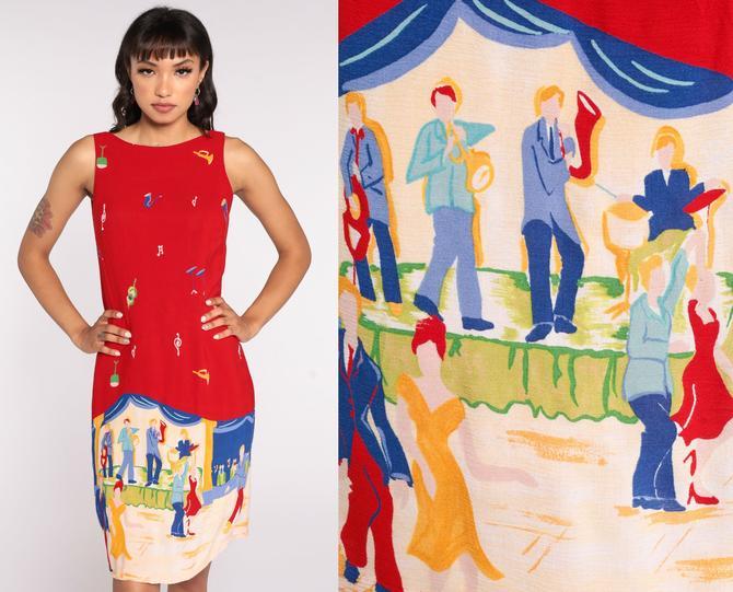 Novelty Print Dress 90s Mini Dress Jazz Band Dress Music Sundress Summer Dress 1990s Shift Vintage Sleeveless Red Small 6 by ShopExile