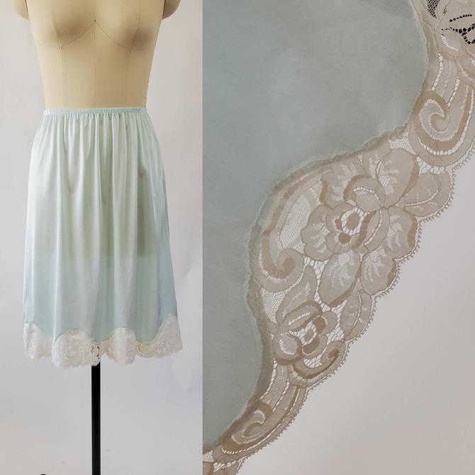 1980s Pale Green Half Slip Lace Trim by Vanity Fair 80's Skirt Slip 80s Lingerie Women's Vintage Size Medium by HeySailorNiceVintage