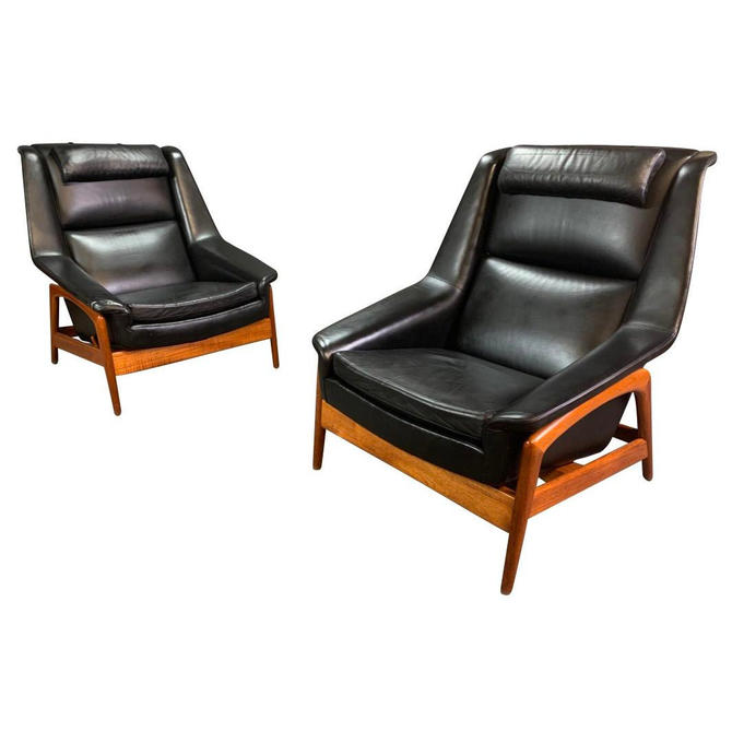 """Pair of Vintage Scandinavian Mid Century Modern """"Profile"""" Recliners-Lounge Chairs in Teak and Leather by Folke Ohlsson for Dux of Sweden by AymerickModern"""