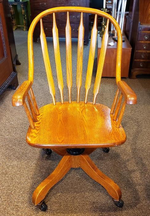 Item #CW4b Vintage Oak Swivel Rocker Desk Chair