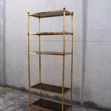 French Brass Patina Etagere with Smokey Glass Shelving / Display Unit by IridiumInteriors