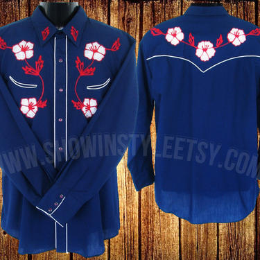 Vintage Western Men's Cowboy & Rodeo Shirt by TemTex, Navy Blue with Boldly Embroidered White Flowers, Approx. Large (see meas. photo) by ShowinStyle