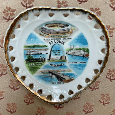 Vintage St Louis Souvenir Plate | Heart Shaped Missouri Collectible Wall Art 60s by blindcatvintage