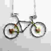 Ready to Ship- Le Petit Bike Necklace with Hearts by Rachel Pfeffer by RachelPfefferDesigns