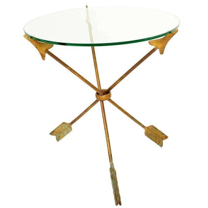 Amazing Arturo PANI Bronze Arrows Martini Side TRIPOD Table Glass Top 1940s by AMBIANIC