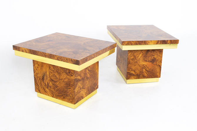 Mid Century Brass and Burlwood Side End Tables - A Pair - mcm by ModernHill