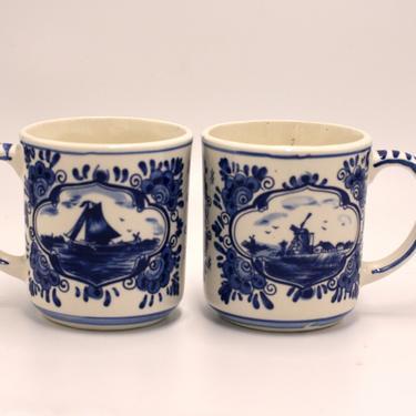 vintage delftware ceramic mugs/holland by suesuegonzalas