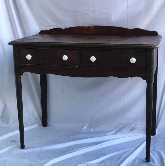 Free and Insured Shipping Within US - Vintage Writing Desk Table Stand with Drawers by BigWhaleConsignment