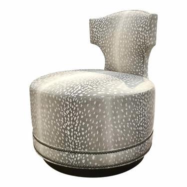 Pearson Modern Gray and White Leopard Print Clara Swivel Slipper Chair