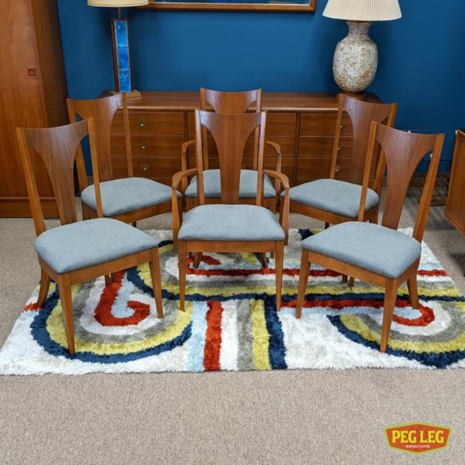 Set of 6 Mid-Century Modern walnut dining chairs with new upholstery
