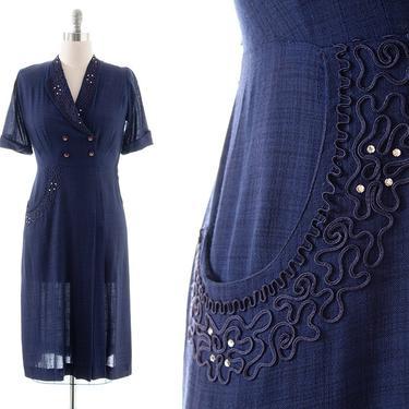 Vintage 1940s 1950s Dress   40s 50s Navy Blue Linen Soutache Rhinestone Wiggle Sheath Day Dress with Pocket (medium/large) by BirthdayLifeVintage