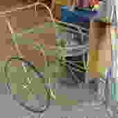Brass glass bar cart $195