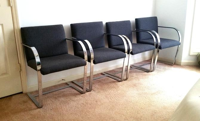 Set of 4 Charcoal Grey Flat Bar Brno Chairs by Mies Van Der Rohe From Gordon Intl by ModernPicks