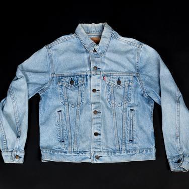 80s Levis Light Wash Denim Jacket - 44R  | Vintage Made In USA Unisex Jean Trucker Jacket by FlyingAppleVintage