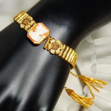 """Victorian 10K GF Cameo Ladder Link Bracelet W/ Weighted Gold Tassels, Classic Relief Cameo, Gold Ladder Links, Accent Flowers, 6 3/4"""" L by shopGoodsVintage"""